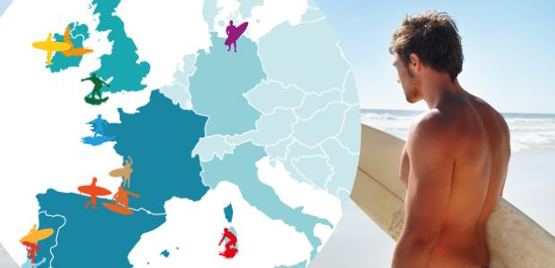 Ou surfer en europe