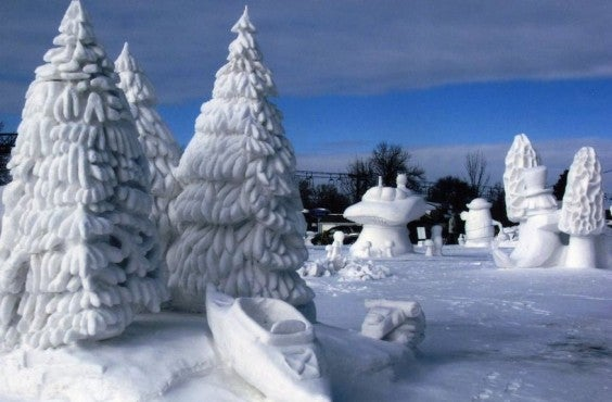 sculpture pins de neige