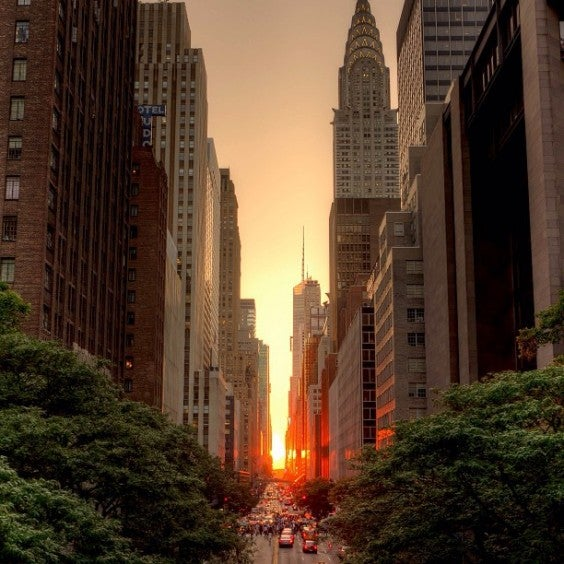 coucher de soleil manhattanhenge new york - blog eDreams