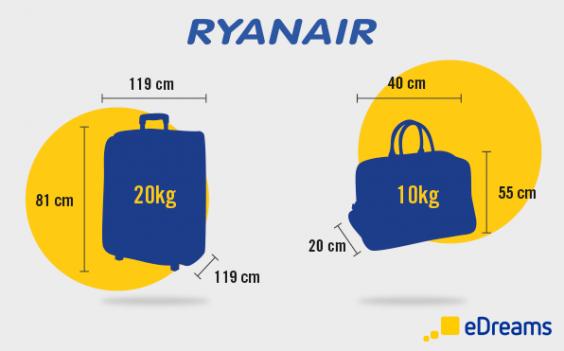 taille et poids des bagages à main ryanair