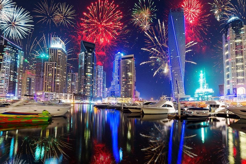 Feux d'artifice du nouvel an à Dubai