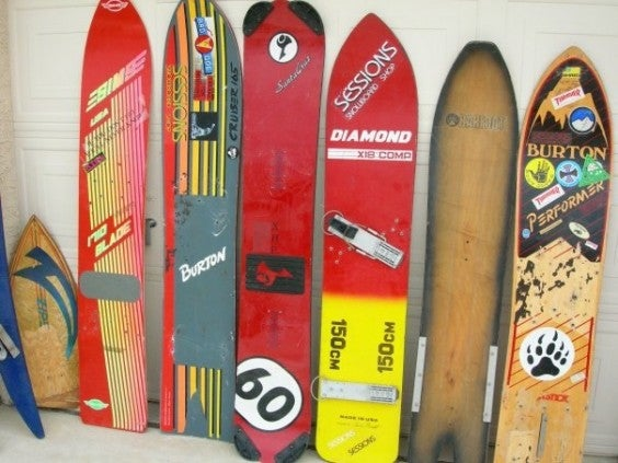 Recycled snowboarding equipment