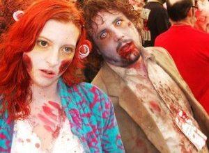 femme et homme déguisement zombie