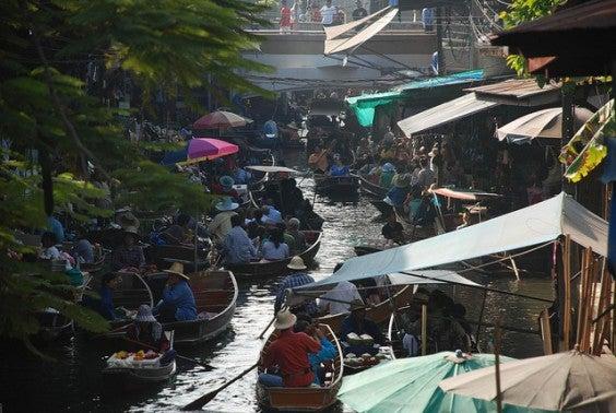 mercado flutuante de Bangkok
