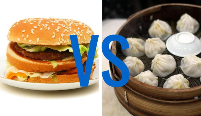 hamburguesa contra comida asiática