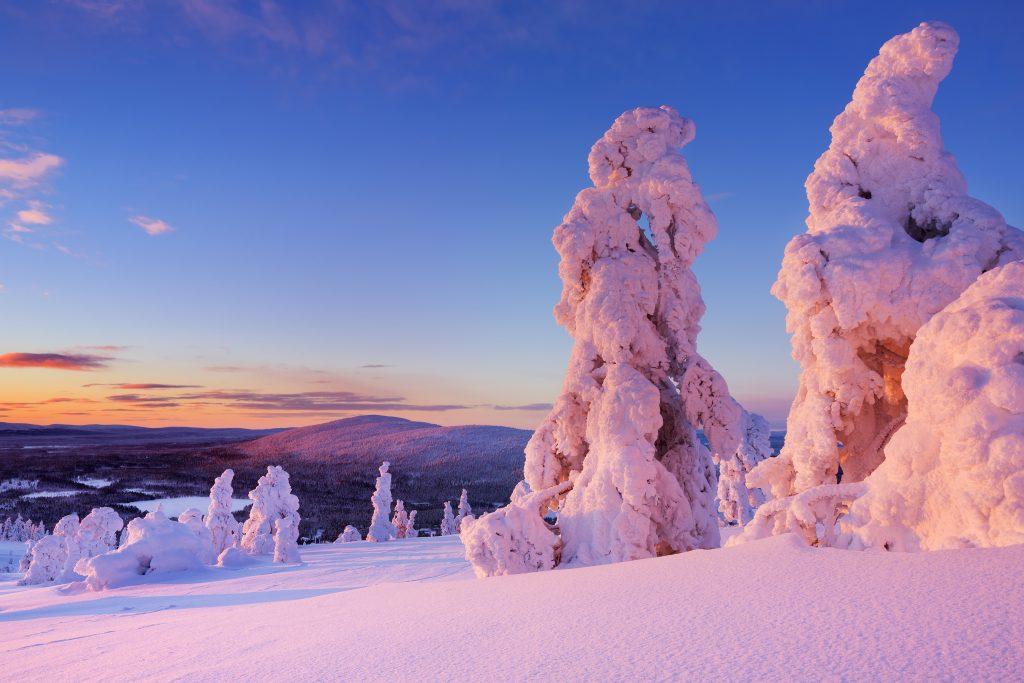 Laponie paysage enneigé au coucher de soleil